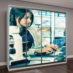 """Шкаф купе с фотопечатью """"лабораторный анализ ДНК на компьютере"""""""