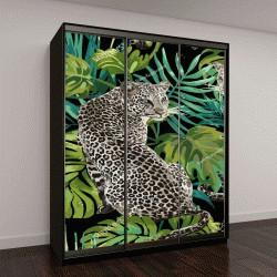 """Шкаф купе с фотопечатью """"узор леопард и тропические листья на черном фоне"""""""