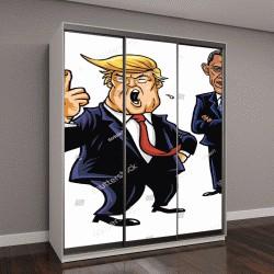 """Шкаф купе с фотопечатью """"Дональд Трамп, Хиллари Клинтон, и Барак Обама"""""""