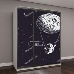 """Шкаф купе с фотопечатью """"Милый астронавт верхом на качели привязанной к Луне"""""""