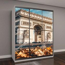 """Шкаф купе с фотопечатью """"Триумфальная арка в Париже, осенний пейзаж"""""""
