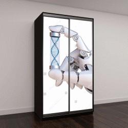 """Шкаф купе с фотопечатью """"Роботизированная рука, держащая образец ДНК, концепция искусственного интеллекта, бионический мозг"""""""
