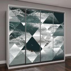 """Шкаф купе с фотопечатью """"аннотация море фон с треугольников, волн на воде"""""""