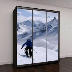 """Шкаф купе с фотопечатью """"лыжницы в окружении гор Сильвретта Массиф в Австрийских Альпах"""""""