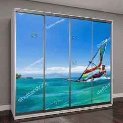 """Шкаф купе с фотопечатью """"Виндсерфинг, развлечения на океане, экстремальный вид спорта"""""""