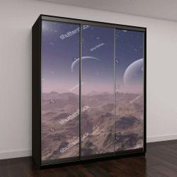 """Шкаф купе с фотопечатью """"3D визуализации пространства: планета пришельцев """""""