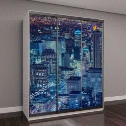 """Шкаф купе с фотопечатью """"Знаменитые небоскребы Нью-Йорка ночью"""""""