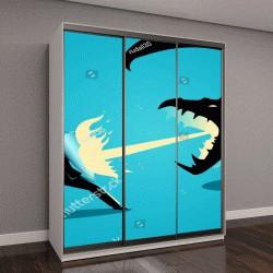 """Шкаф купе с фотопечатью """"Бизнес-концепция иллюстрация бизнесмена, борющегося с драконом"""""""