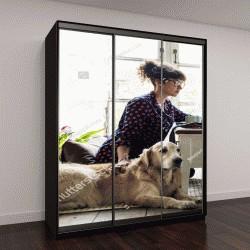 """Шкаф купе с фотопечатью """"Женщина гладит собаку"""""""