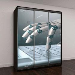"""Шкаф купе с фотопечатью """"Робототехническая рука на ноутбуке, виртуальный мир информации"""""""