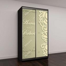 """Шкаф купе с фотопечатью """"Элегантные стильные свадебные приглашения, цветочные кружева дизайн"""""""