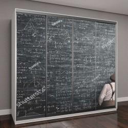 """Шкаф купе с фотопечатью """"мудрый человек, написание математического решения"""""""