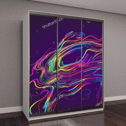 """Шкаф купе с фотопечатью """"Движущиеся красочные линии абстрактный фон"""""""