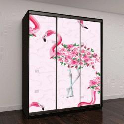 """Шкаф купе с фотопечатью """"Пляжный образ обои с красивой тропический розовый фламинго тело розы цветы"""""""