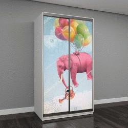 """Шкаф купе с фотопечатью """"Розовый слон в небе с лейкой"""""""
