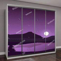 """Шкаф купе с фотопечатью """"фиолетовая ночь и полная луна над озером"""""""