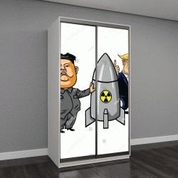 """Шкаф купе с фотопечатью """"Ким Чен Ын против Дональда Трампа"""""""