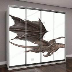 """Шкаф купе с фотопечатью """"3D визуализация фэнтези дракон, изолированные на белом фоне"""""""