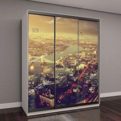 """Шкаф купе с фотопечатью """"Лондон с высоты птичьего полета с Тауэрского моста во время заката """""""