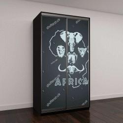"""Шкаф купе с фотопечатью """"Форма африканского континента с большой пятеркой животных"""""""