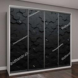 """Шкаф купе с фотопечатью """"Черные шестиугольники"""""""