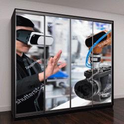 """Шкаф купе с фотопечатью """"Технологии виртуальной реальности в промышленности"""""""