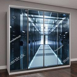 """Шкаф купе с фотопечатью """"Центр обработки данных """""""