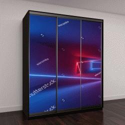 """Шкаф купе с фотопечатью """"3D визуализация, светящиеся линии, неон, абстрактный психоделический фон, ультрафиолетовое излучение, яркие цвета"""""""