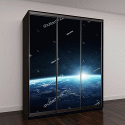 """Шкаф купе с фотопечатью """"Вид планеты Земля из космоса во время восхода солнца"""""""