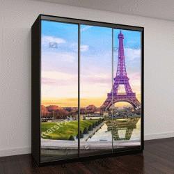 """Шкаф купе с фотопечатью """"Эйфелева башня на закате, Париж, Франция"""""""