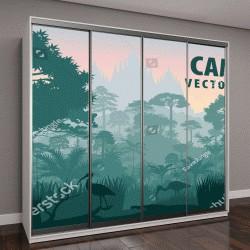 """Шкаф купе с фотопечатью """"панорама Камбоджи с крокодилом, цаплей и Ибисом в джунглях """""""