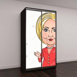 """Шкаф купе с фотопечатью """"21 апреля, 2016, символ, иллюстрация демократический кандидат в президенты Хиллари Клинтон, одетой в красный брючный костюм"""""""