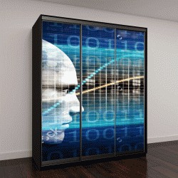 """Шкаф купе с фотопечатью """"Биотехнологии и концепции исследования технологии, 3D визуализации"""""""
