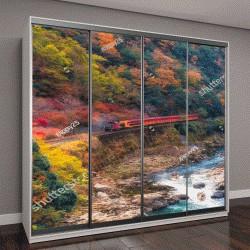 """Шкаф купе с фотопечатью """"живописная железная дорога на мосту через реку в Арасияма, Kyoyo, Япония"""""""