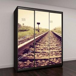 """Шкаф купе с фотопечатью """"старинная железная дорога"""""""