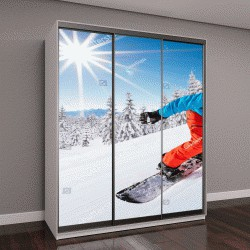 """Шкаф купе с фотопечатью """"Лыжник, горные лыжи в солнечный день в горах"""""""