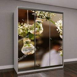 """Шкаф купе с фотопечатью """"свадебные цветочные украшения и букеты цветов, свисающие с потолка"""""""