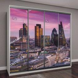 """Шкаф купе с фотопечатью """"Банк центральный Лондон после захода солнца с офисными зданиями """""""