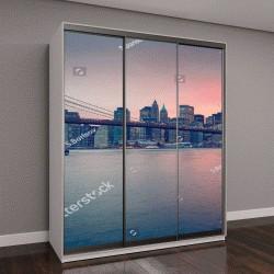 """Шкаф купе с фотопечатью """"Бруклинский мост в сумерках в Нью-Йорке"""""""