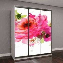 """Шкаф купе с фотопечатью """"Букет из роз и мелкие цветы"""""""