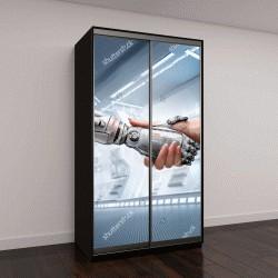 """Шкаф купе с фотопечатью """"рукопожатие как символ связи между людьми и технологией искусственного интеллекта"""""""