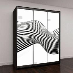 """Шкаф купе с фотопечатью """"черные волны на белом фоне"""""""