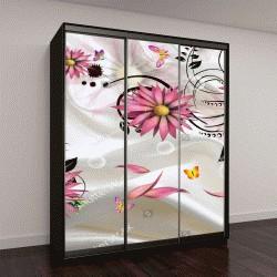 """Шкаф купе с фотопечатью """"3D изолированных цветы с ткани фон обои"""""""