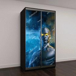 """Шкаф купе с фотопечатью """"Галактический герой, мужская фигура с космическим фоном"""""""