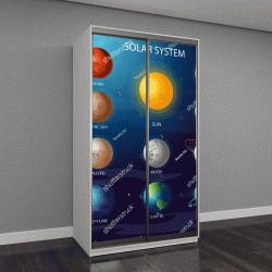 """Шкаф купе с фотопечатью """"Векторная иллюстрация Солнечной системы"""""""