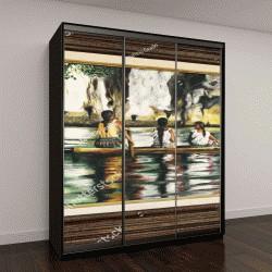 """Шкаф купе с фотопечатью """" Картина с четырьмя индейцами в лодке на реке Амазонка"""""""