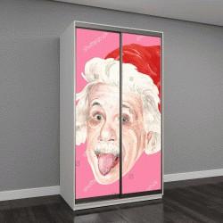 """Шкаф купе с фотопечатью """"акварельный портрет Альберта Эйнштейна на розовом фоне"""""""
