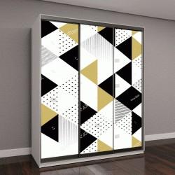 """Шкаф купе с фотопечатью """"Абстрактный узор из черных и золотых треугольников"""""""