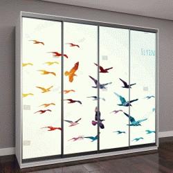 """Шкаф купе с фотопечатью """"Красочные силуэты летающих птиц, векторные иллюстрации"""""""