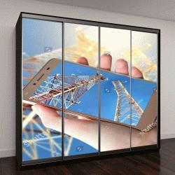 """Шкаф купе с фотопечатью """"Смартфон в руке с видом неба и телекоммуникационной антенны"""""""